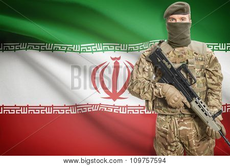 Soldier Holding Machine Gun With Flag On Background Series - Iran