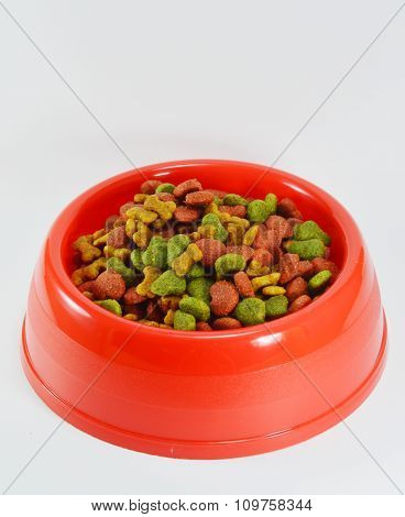 pet food in the red plastic bowl