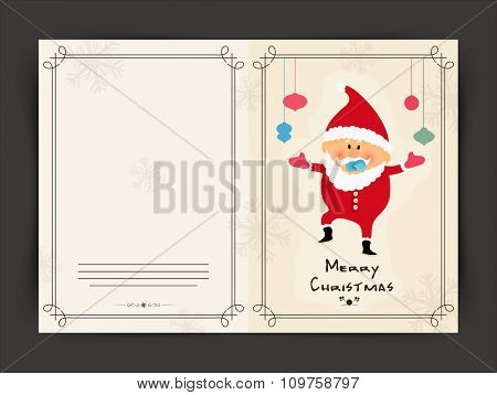 Merry Christmas celebration greeting card with cute little boy dressed as Santa Claus.