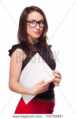 Office girl holding empty paper blank template