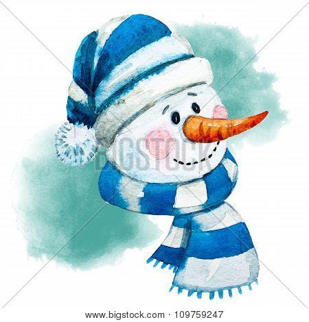 Watercolor raster hand drawn snowman