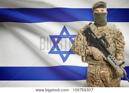 Soldier Holding Machine Gun With Flag On Background Series - Israel