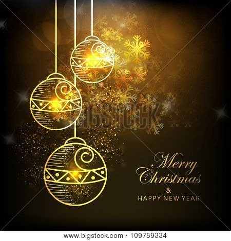 Elegant greeting card with beautiful hanging Xmas Balls on snowflakes decorated shiny background for Merry Christmas and Happy New Year celebration.