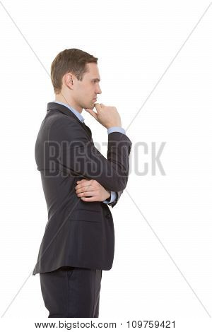body language. man in business suit isolated on white background. stroking the chin. profile