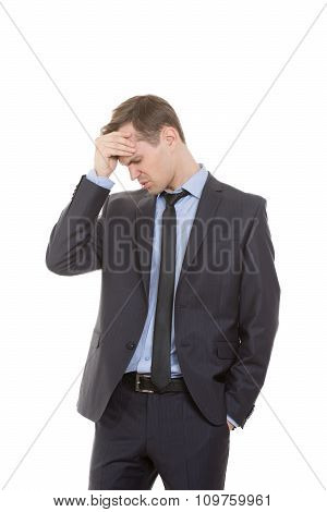 body language. man in business suit isolated on white background. Cotton forehead. recognition error