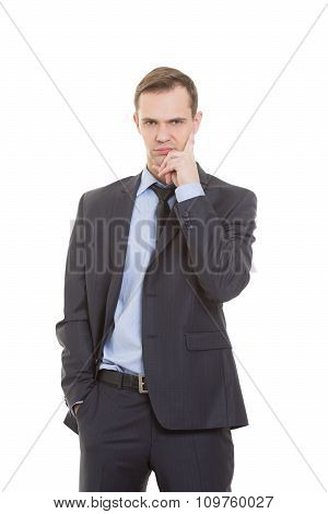 body language. man in business suit isolated on white background. negative thoughts, the index finge