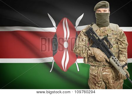 Soldier Holding Machine Gun With Flag On Background Series - Kenya