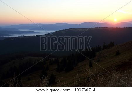Mountains In The Mist Before Sun Dawn