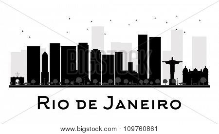 Rio de Janeiro City skyline black and white silhouette. Vector illustration. Simple flat concept for tourism presentation, banner, placard or web. Business travel concept. Cityscape with landmarks