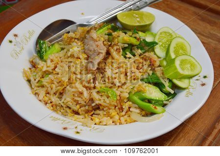 pork fried rice on dish