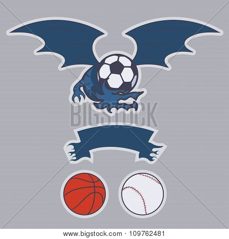 Dragon football, basketball, baseball, soccer team emblem