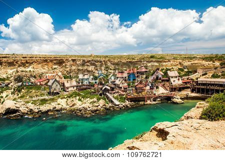 View over Popeye village, Malta
