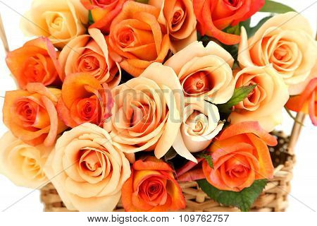 Bouquet Of Orange Roses Background, Close Up