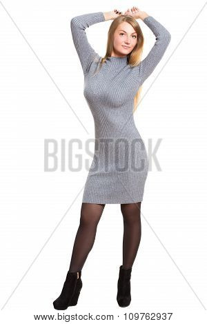 picture of beautiful woman in wool dress. Isolated on white background