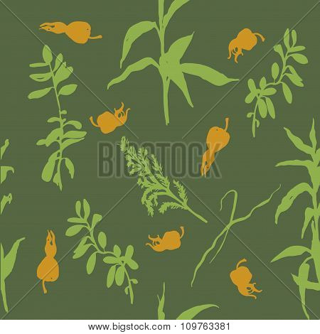 forest herbs and rose hips background seamless pattern vector