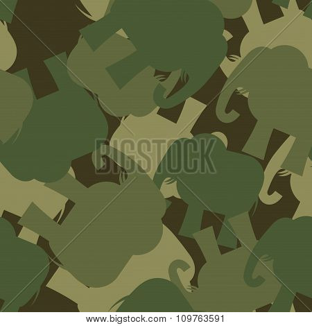 Army Pattern Elephant. Camo Background Of Green Elephant. Military Seamless Ornament From Animal Jun