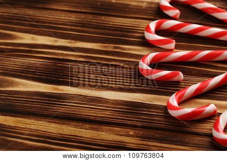 Christmas Candy Can On A Brown Wooden Table
