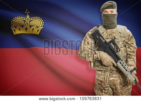 Soldier Holding Machine Gun With Flag On Background Series - Liechtenstein