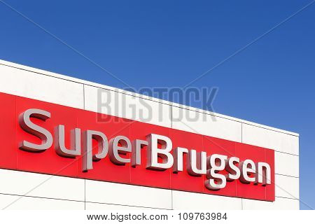 SuperBrugsen logo on a facade