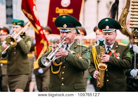 Orchestra of the Border Troops participating in the parade dedic