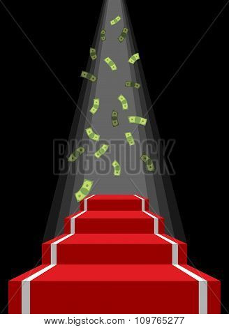 Red Carpet And Rain Of Money. Falling Dollars For Winner. Prestal For Lucky. Road To Wealth And Pros