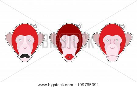 Set Mask Red Monkey: Primacy With Moustache. Monkey With Big Red Lips. Collection Of Masks For Chris