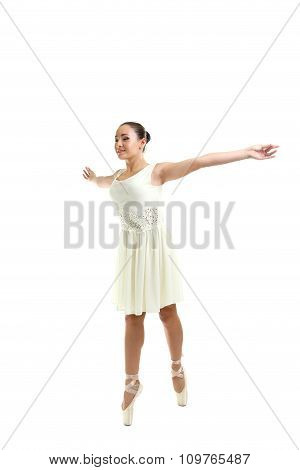 Young Gymnasts In Pointe Shoes On A White Background