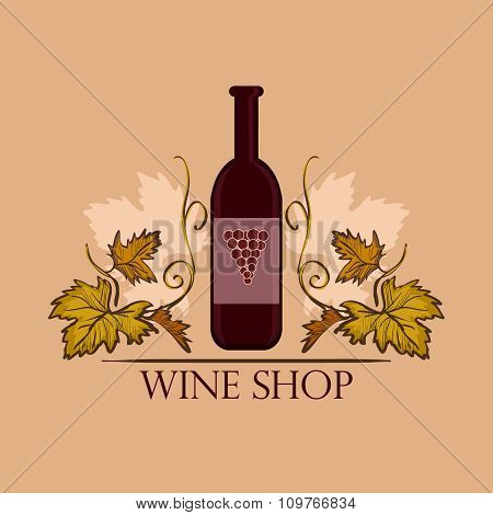 Hand drawn Wine label with bottle. Winemaking concept