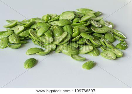 Parkia Speciosa Bean On White Background