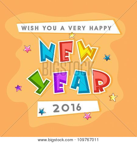 Elegant creative greeting card design for Happy New Year 2016 celebration.