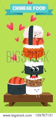 Funny characters. Japanese food. Postcard Valentine's Day. Illustration with funny characters.
