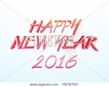 Stylish glossy text Happy New Year 2016 on snowflakes decorated shiny background.