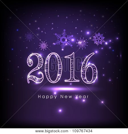 Elegant greeting card design with stylish text 2016 on snowflakes decorated shiny purple background for Happy New Year celebration.