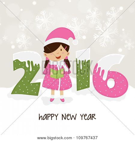 Creative snow covered text 2016 with cute little girl holding a book on snowflakes decorated background for Happy New Year celebration.