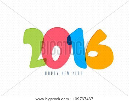 Glossy colorful text 2016 on shiny background for Happy New Year celebration.