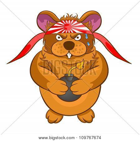 Cartoon Hamster Kamikaze Bomb In The Hands