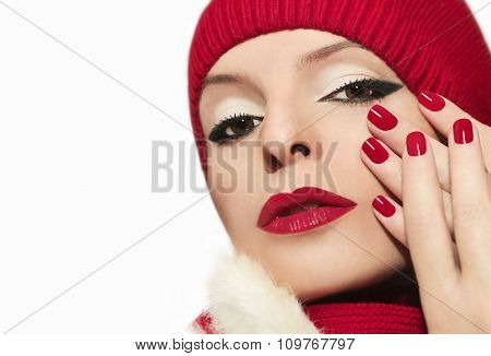 Red bright manicure .