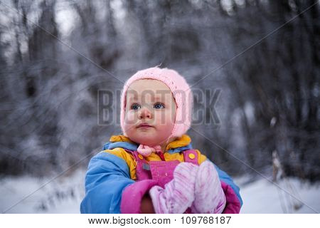 Little Girl With Blush On Cheeks