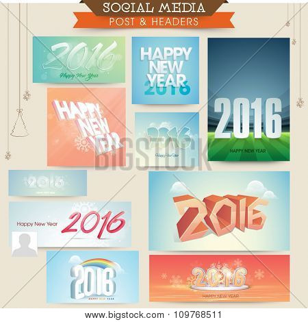 Social Media post and header set with various stylish text for Happy New Year 2016 celebration.