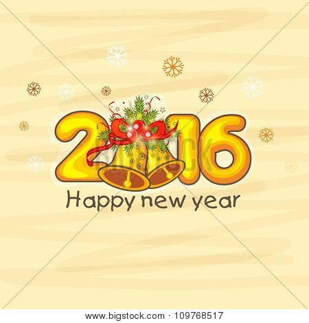Elegant greeting card design with golden text 2016 and Jingle Bells on snowflakes decorated background for Happy New Year celebration.