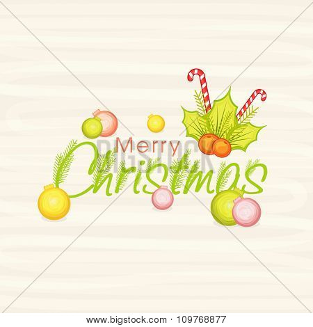 Merry Christmas celebration greeting card design with colorful Xmas Balls, Mistletoe and candy cane.