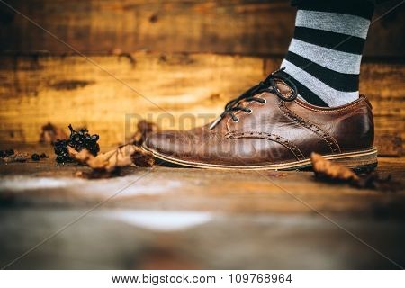 Man Fashion Brown Shoes On Wood Background With Striped Socks