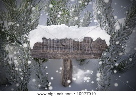 Christmas Sign Snowflakes Fir Tree And Copy Space