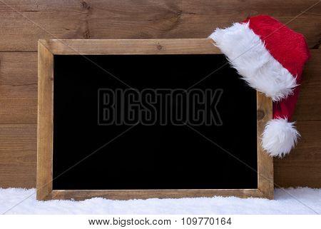 Christmas Blackboard, Red Santa Hat, Copy Space, Snow