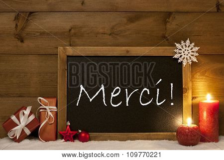 Festive Christmas Card, Blackboard, Snow, Merci Mean Thank You