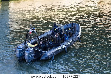 The Police Patrol Boat On The Seine River.