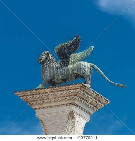 Sculpture Of Winged  Lion Of Venice At Doge Palace, Venice, Italy