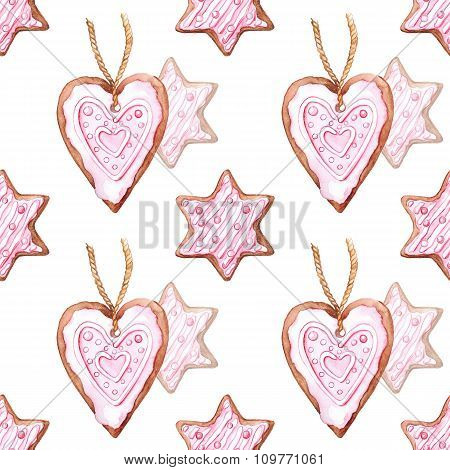 Watercolor star and heart ginger biscuit seamless pattern