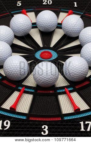 Detail Dartboard With Golf Balls