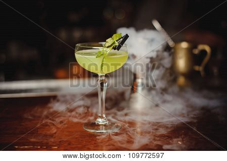 Green Alcohol Cocktail With Lime